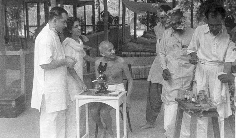 Curious mind: Gandhi observing a hookworm cell through a microscope at Sumati Morarjee's residence at Juhu Beach, Bombay, in 1944.