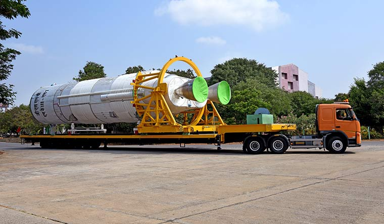 Booster ready: The liquid core stage (L110) of the GSLV Mk-III rocket is transported to Sriharikota for the launch | Courtesy ISRO