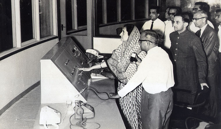 Star presence: Former prime minister Indira Gandhi inaugurates the Thumba Equatorial Rocket Launch Station; Vikram Sarabhai is seen behind her.