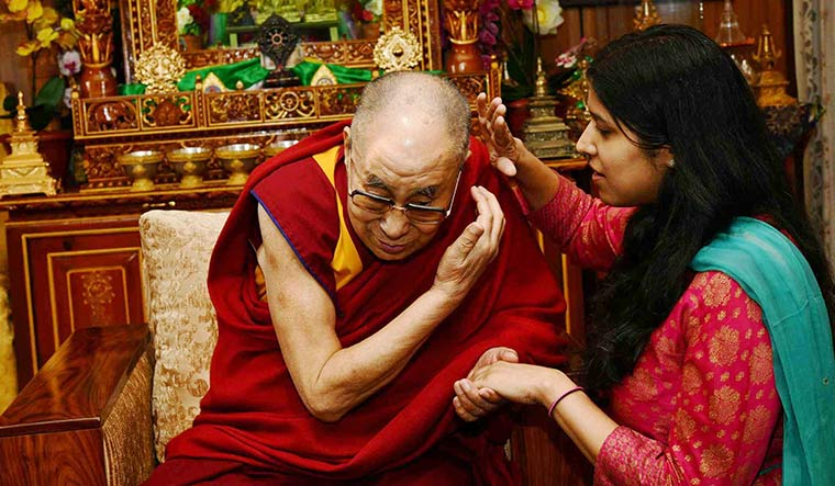 Divine presence: The Dalai Lama with THE WEEK's Senior Special Correspondent Namrata Biji Ahuja.
