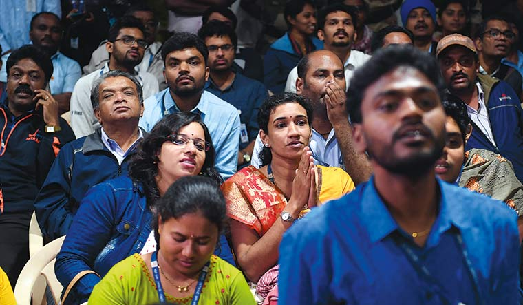 Hoping against hope: Mediapersons and ISRO officials watching on during the landing attempt | Bhanu Prakash Chandra