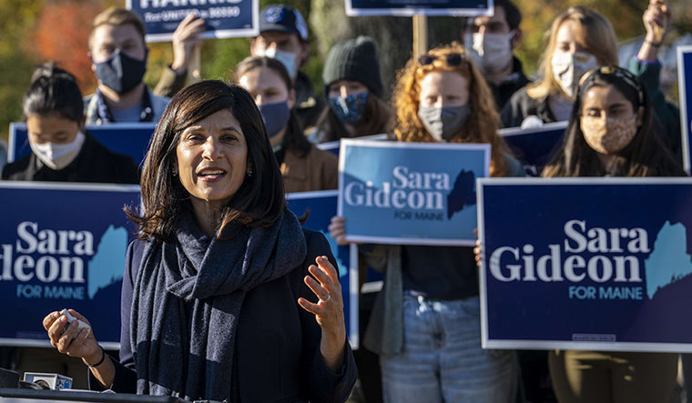 Rising star: Democratic Senate candidate Sara Gideon at the town hall in Freeport, Maine | AFP