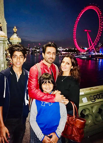 Sood with his wife, Sonali, and sons Eshaan and Ayaan.