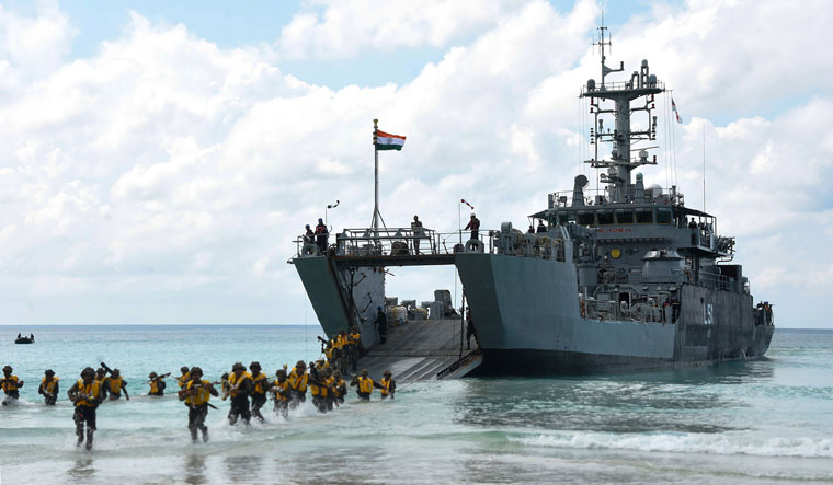 Strategic point: Soldiers during the Defence of Andaman & Nicobar Islands 2019, a large scale joint-services exercise | PTI