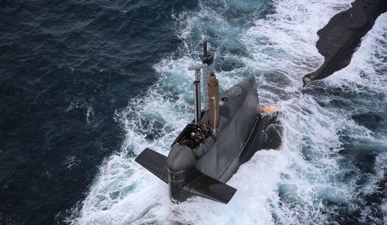 Riding the wave: the INS Kalvari, a  scorpene-class submarine, during sea-trial off Mumbai | AFP