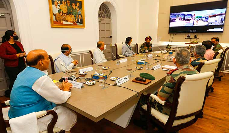 Bringing it closer: Rajnath Singh inaugurating the 80km road from Ghatiabgarh to Lipulekh in a video conference in New Delhi on May 8, 2020 | PIB