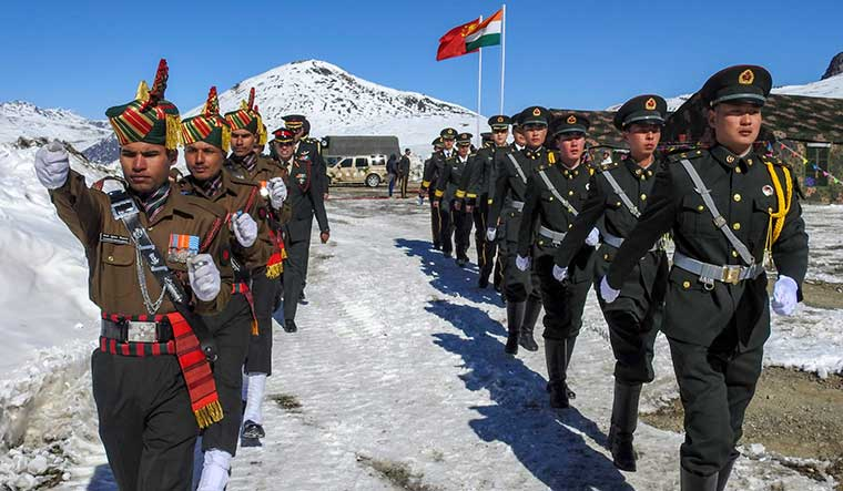 In Better times: Indian and Chinese soldiers jointly celebrate the New Year at Bumla on the Indo-China border in Arunachal Pradesh | PTI