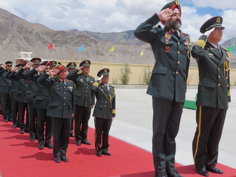 False friends: Brigadier J.K.S. Virk and Senior Colonel Chen Zheng Shan at a  border personnel meeting at Daulat Beg Oldie in 2015