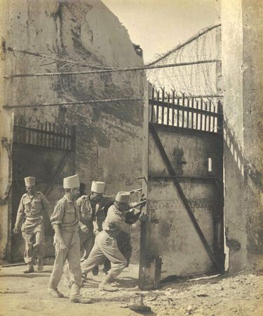 Members of the Madras Engineering Group, known as Madras Sappers, opening the gates of Fort Dufferin in Mandalay, Burma, in March 1943 | Usi of India