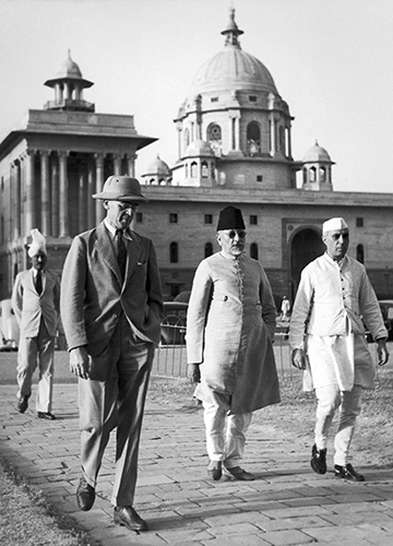 Making peace for the war: (From left) Sir Stafford Cripps, Abul Kalam Azad and Jawaharlal Nehru in Delhi in March 1942. Cripps negotiated with Indian leaders on behalf of the British government to secure Indian cooperation in the war effort | Getty Images