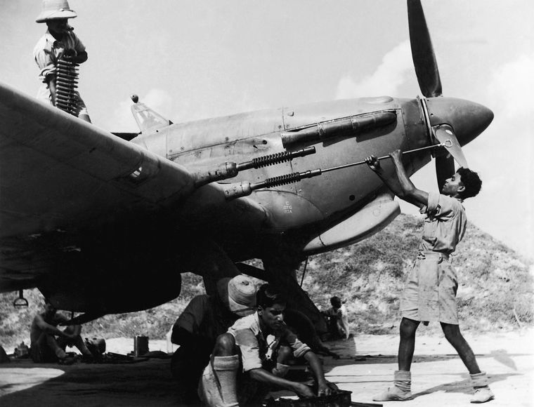 A Hurricane IIC of the Royal Indian Air Force is readied for a sortie in Burma in 1943 | USI of India