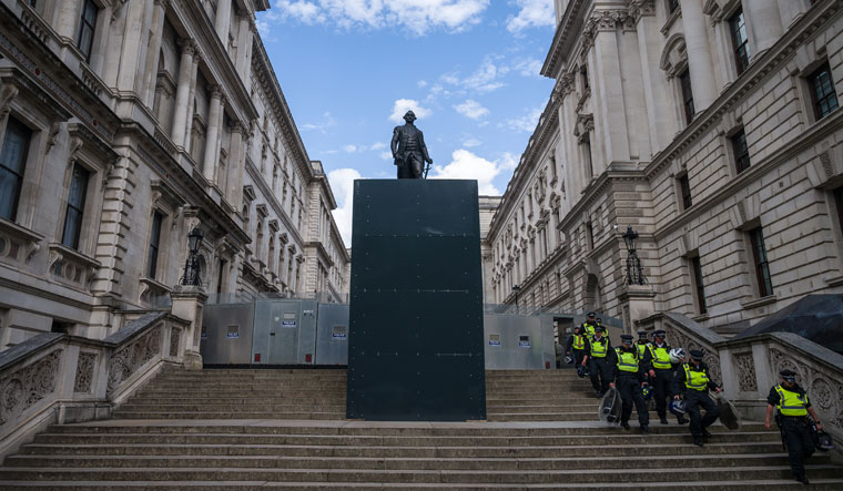 Towering, no cowering : The protected statue of Robert Clive on King Charles Street in Whitehall, London | Getty images