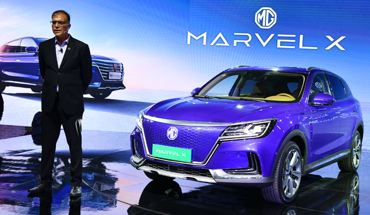 Joint venture: Rajeev Chaba, president and managing director, MG Motor India, at the Auto Expo early this year. MG Motor tied up with Vadodara-based ventilator maker MAX to scale up production | Sanjay Ahlawat