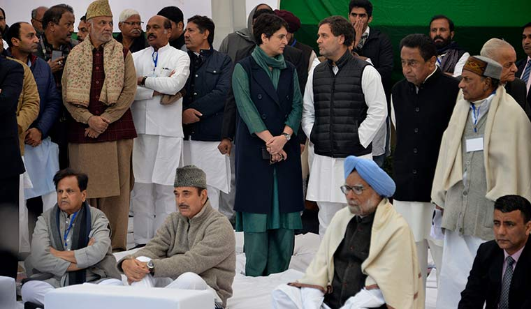 Lost in the crowd: Rahul and Priyanka with senior Congress leaders at a protest against NRC and CAA in Delhi | Arvind Jain