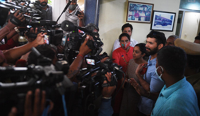 Unwanted attention: Kannada actor couple Diganth Manchale and Aindrita Ray at the Central Crime Branch office in Bengaluru. They were summoned for questioning in connection with a drug case | Bhanu Prakash Chandra