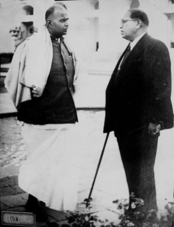 Mookerjee with Dr B.R. Ambedkar in front of Parliament | Courtesy Spmrf