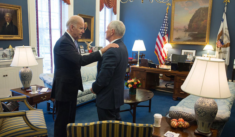 Biden and Pence in the vice president's West Wing office | courtesy: @vp44/twitter
