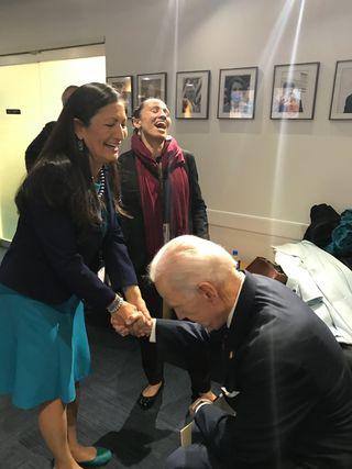 Inclusive cabinet: Deb Haaland, the choice for interior secretary (left), and Representative Sharice Davids with Joe Biden at a 2018 Democratic event in Washington, DC   courtesy: deb 4 congress