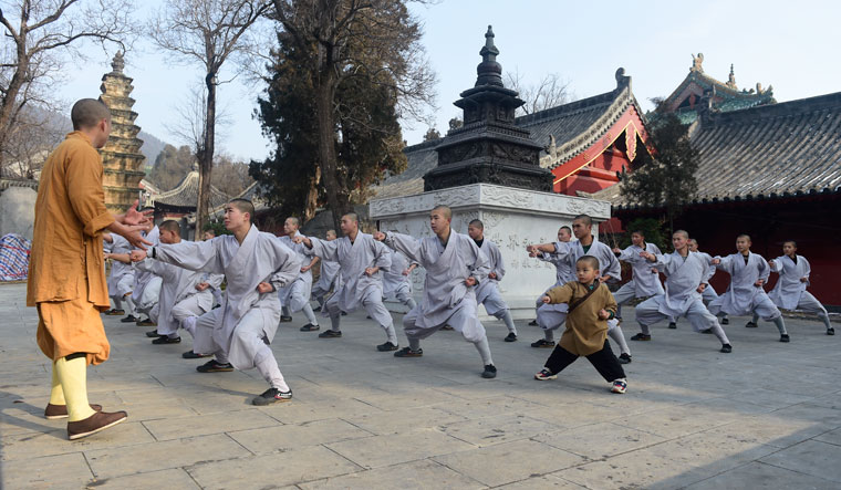 Life of devotion: (Top) three-year-old San Bao and a group of young boys  practise kung fu movements
