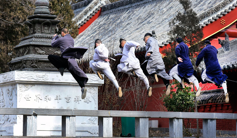 Unique agility: Warrior monks at Shaolin temple