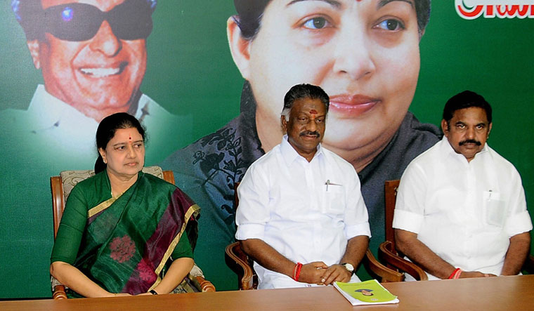 Game of thrones: File picture of Sasikala with Palaniswami (far right) and Panneerselvam. Her return has rattled the AIADMK leadership | PTI