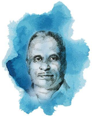 Ibrahim Kaskar, Dawood's father. Ibrahim was head constable in the criminal investigation department in Mumbai.   Illustration: Job P.K.