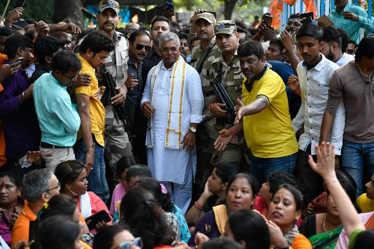 People's Man: Ghosh at a sit-in protest in Kolkata. If elected, Ghosh would be the first Bengali chief minister fluent in Hindi.
