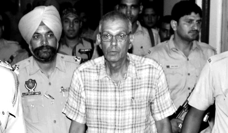 Bound and barred: A file picture of Ghandy being produced at a district court in Patiala | PTI