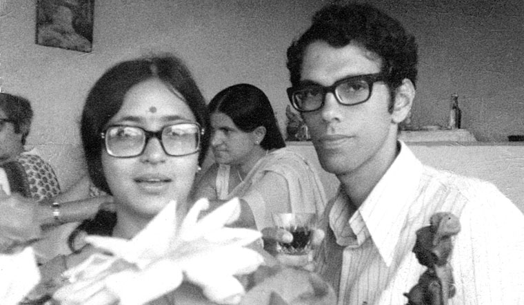 Ghandy with Anuradha on the day of their wedding