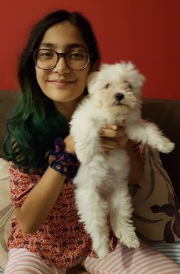 Hereos assembled: Srivastava with her dog Pebbles.