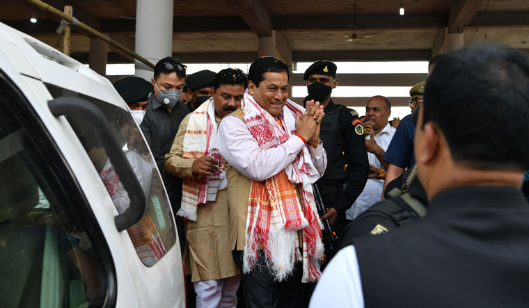 Winning formula: Sarbananda Sonowal campaigning at Pathsala in Barpeta district | Arvind Jain