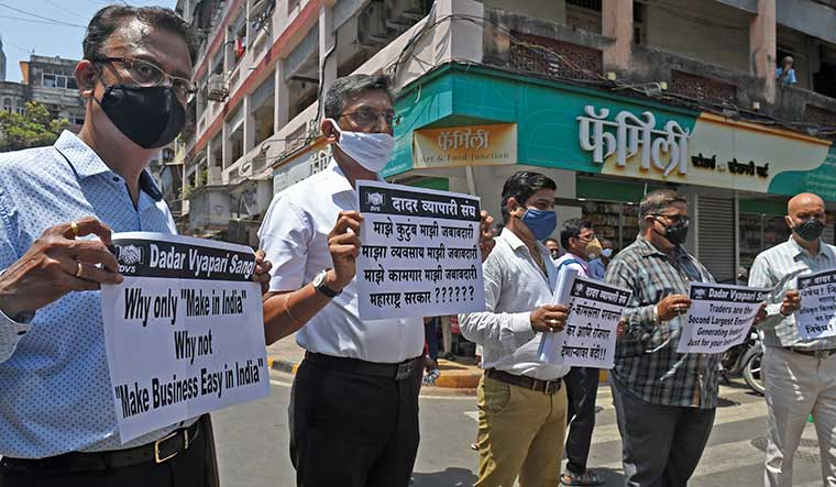 Matter of livelihood: Traders in Mumbai staging a protest against the restrictions imposed by the state government | Amey Mansabdar