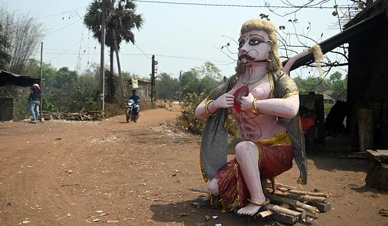 Changing hues: A Hanuman statue in Lalgarh, the hotbed of left extremism in the late 2000s.