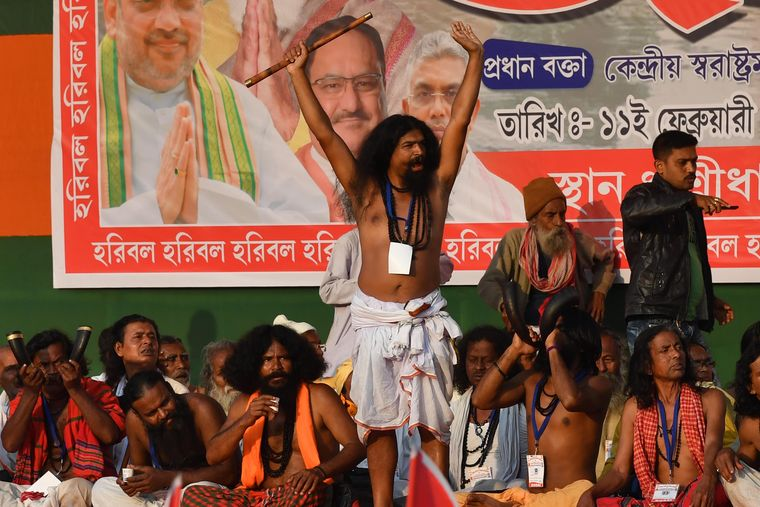 Show of support: Members of Matua Mahasangha, the community's main organisation, at a BJP function in North 24 Parganas district.