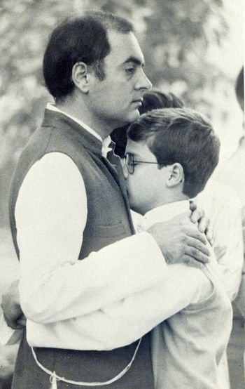 Perils of power: Rajiv Gandhi consoles his son, Rahul, after the assassination of his mother, Indira | Getty Images