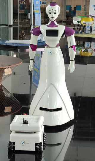 Welcome aide: Sayabot V3, a hospitality humanoid, and SEVA-Bot, used in hospitals, from Asimov Robotics