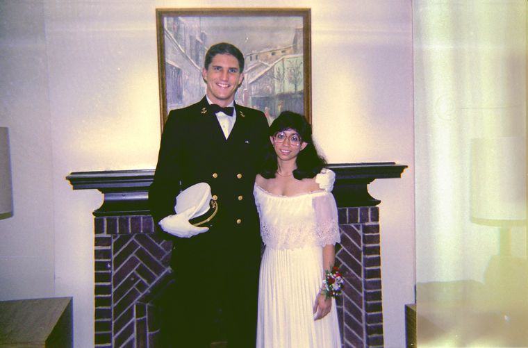 Nagin with husband Earl at Cornell University's military ball in 1984.