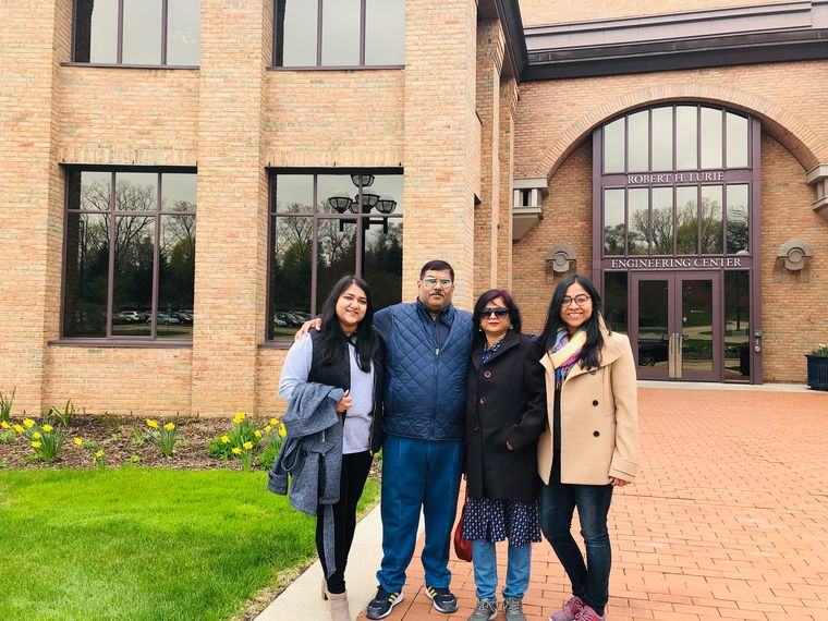 With family at the University of Michigan.