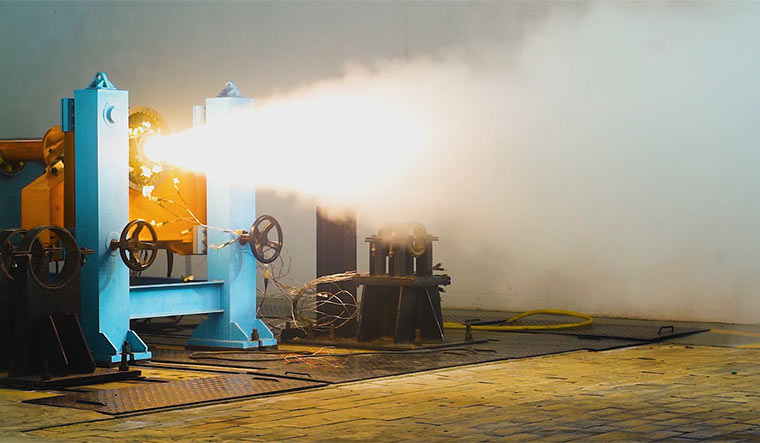 Skyroot's Kalam-5 Engine being test-fired.