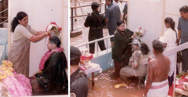 Matter of faith: Jayalalithaa and Sasikala at the Mahamagam celebrations at Kumbakonam in 1992 | Courtesy Nakkheeran
