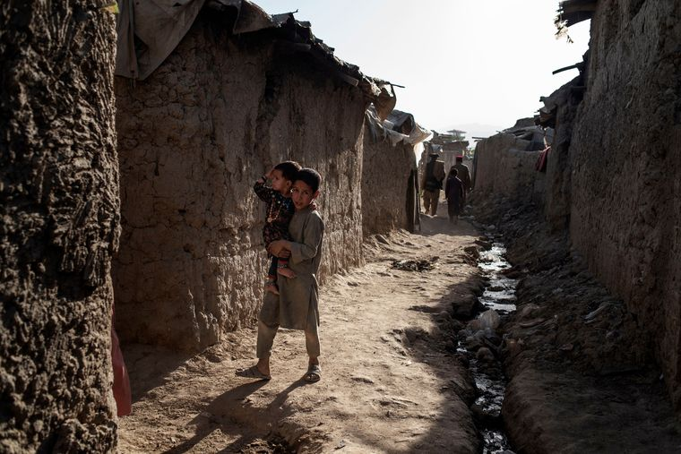 Future tense: Refugees in a settlement in downtown Kabul.