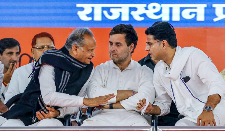 Eyeing a change?: (From left) Rajasthan Chief Minister Ashok Gehlot with Rahul Gandhi and Sachin Pilot   PTI