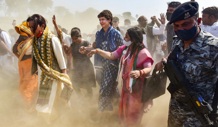 Raising a storm: Priyanka in Baswar village, Prayagraj. The elections in Uttar Pradesh will be fought under her leadership, but not many in the Congress are happy with the team she has put in place   PTI