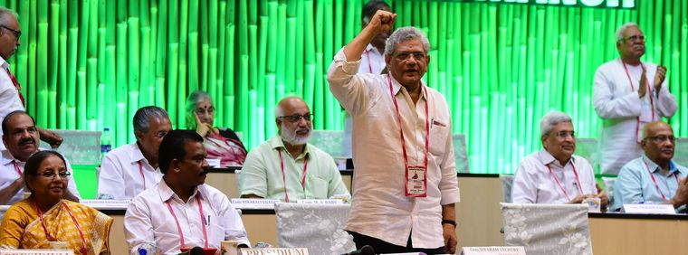 Red salute: Yechury at the CPI(M)'s 22nd party congress in Hyderabad | Manoj Chemancheri