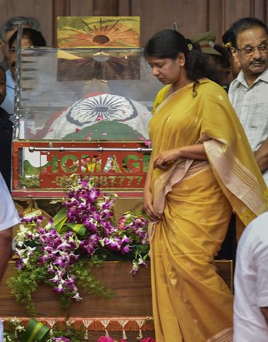 Kanimozhi, Karunanidhi's daughter, during his lie-in-state at Rajaji Hall | PTI
