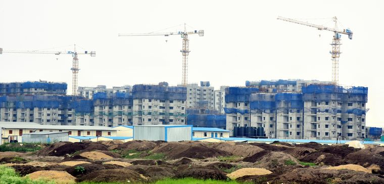 Standing still: Government buildings under construction in Amaravati. The High Court, assembly and the secretariat are still housed in temporary buildings.