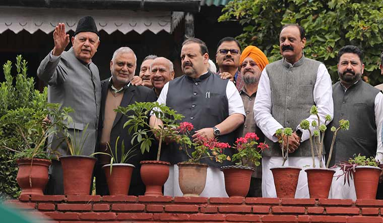 Down, but not out: National Conference leaders after meeting Farooq Abdullah (extreme left) on October 6 | Umer Asif