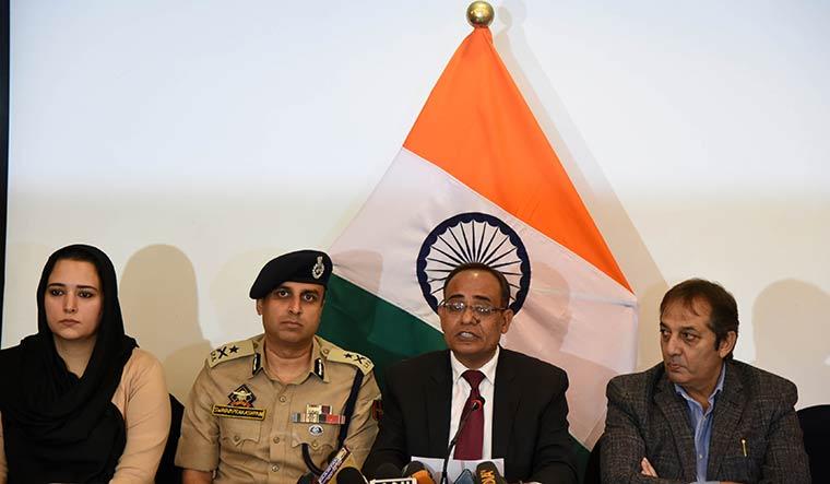Point man: Principal secretary Rohit Kansal addressing journalists in Srinagar on October 12 | Umer Asif