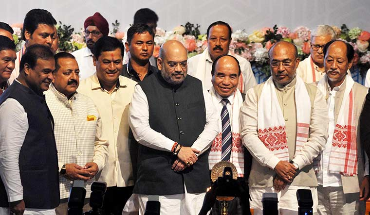 Unity in diversity: Union Home Minister Amit Shah with chief ministers of the northeast states at a conclave in Guwahati on September 9 | Getty Images