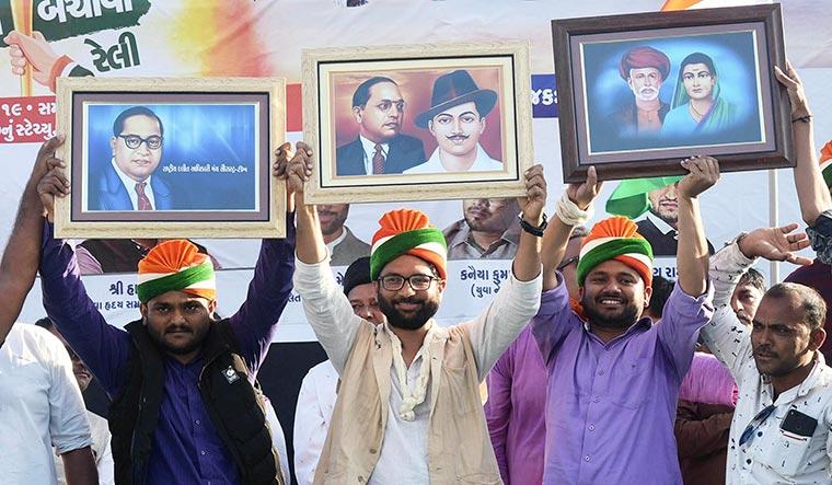 Young turks: (From left) Hardik Patel, Jignesh Mevani and Kanhaiya Kumar at a rally in Rajkot | PTI